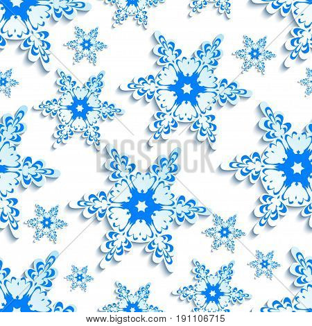 White trendy background seamless pattern with blue stylized 3d snowflakes cut paper. Luxury winter wallpaper for New Year and Christmas. Stylish modern backdrop. Vector illustration.