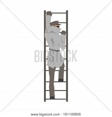 Detective man character climbing on a ladder, private investigator, inspector or police officer vector Illustration isolated on a white background