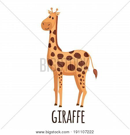 Cute Giraffe in flat style isolated on white background. Vector illustration. Cartoon giraffe. African zoo animal.