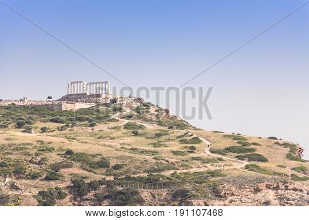 Cape Sounion Temple of Poseidon Greece .
