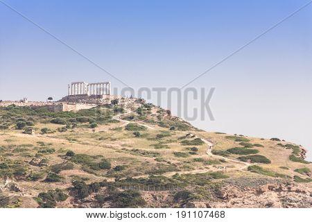 Cape Sounion Temple of Poseidon Greece .