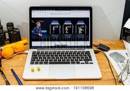 PARIS FRANCE - JUNE 6 2017: Apple Computers website on MacBook laptop in creative environment showcasing news from Apple at WWDC 2017 - Kevin Lynch about Toy Story faces
