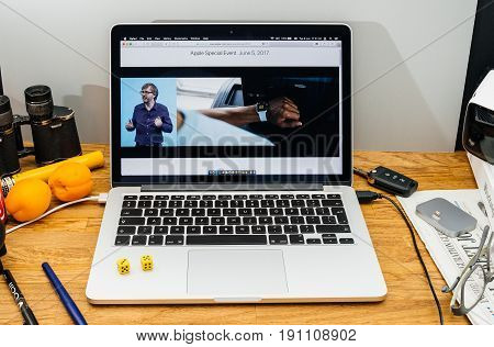 PARIS FRANCE - JUNE 6 2017: Apple Computers website on MacBook laptop in creative environment showcasing news from Apple at WWDC 2017 - Kevin Lynch about synchronisation of workouts