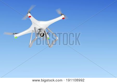 White drone in the sky, 3D illustration