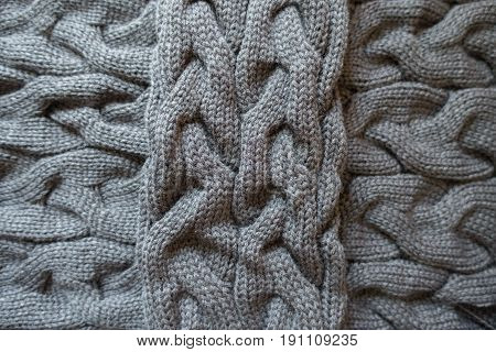 Cross Of Grey Knit Fabric With Plait Pattern
