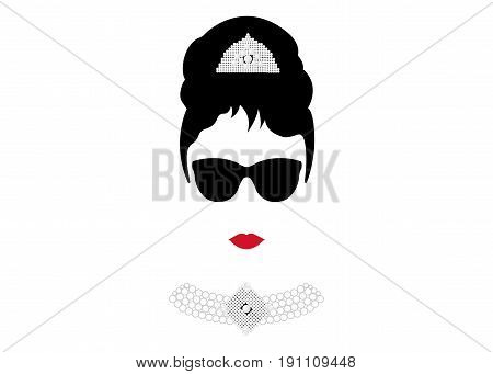 portrait retrò woman, diva with Pearl jewelry and black glasses , minimal Audrey vector illustration