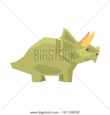 Cartoon styracosaurus character, Jurassic period animal vector Illustration isolated on a white background