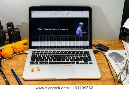 PARIS FRANCE - JUNE 6 2017: Apple Computers website on MacBook laptop in creative environment showcasing Apple Craig Federighi previews macOS High Sierra at WWDC 2017 - Safari world fastest internet browser