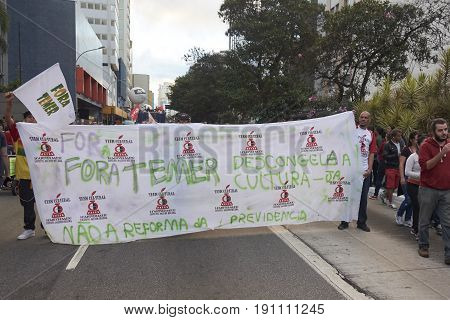 Protest Of Workers In Sao Paulo.