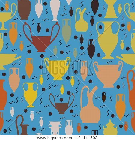 Seamless amphora and ancient pottery pattern for shirts and wrapping paper