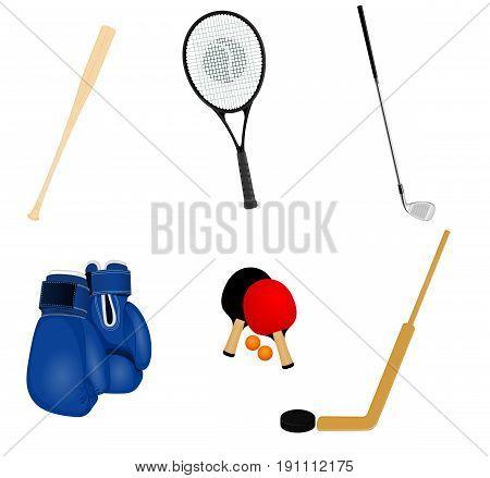 Vector illustration of a sport inventory set