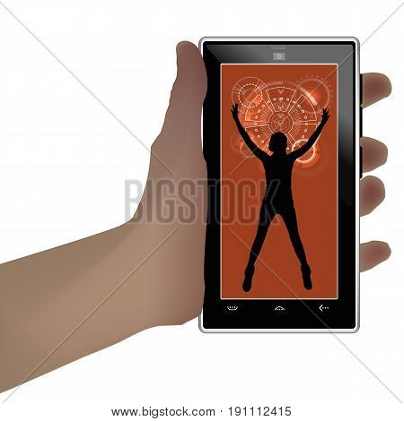 Man And Technology. On White Background