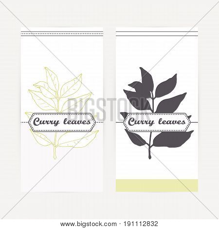 Curry leaves seasoning. Hand drawn branch in outline and silhouette style. Spicy herbs retro labels collection for food packaging or kitchen design. Vector illustration