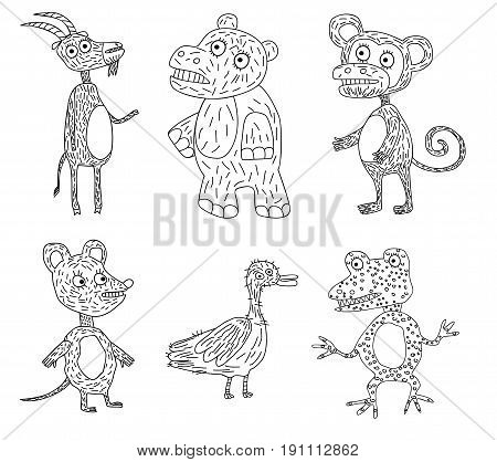 Vector illustration of a six funny animals