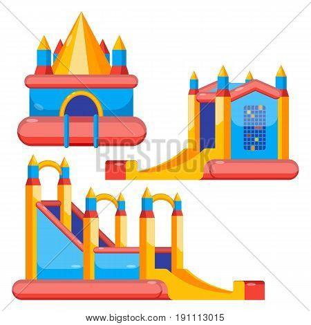Bouncy castles for children amusement colorful collection isolated on white. Vector poster of childish inflatable jumping attractions