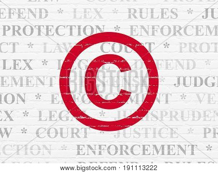 Law concept: Painted red Copyright icon on White Brick wall background with  Tag Cloud