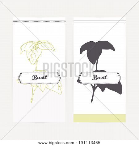Basil seasoning. Hand drawn branch with leaves in outline and silhouette style. Spicy herbs retro labels collection for food packaging or kitchen design. Vector illustration