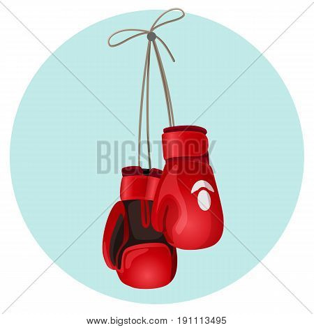 Boxing leather gloves in red and black color hanging on blue circle background vector illustration. Protecting mittens on hands during fight