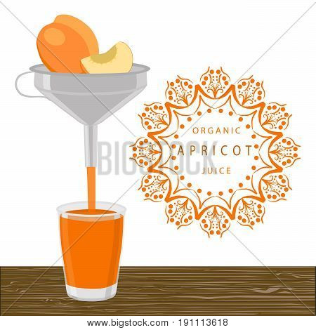 Abstract vector illustration logo whole ripe fruit apricot green stem leaf cut sliced glass background.Apricot drawing consisting of tag label peel fruits pip sweet food.Drink fresh apricots in glass