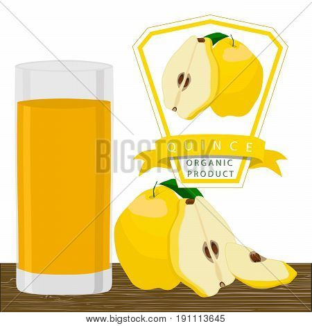 Vector illustration logo whole ripe yellow fruit quince,green stem leaf cut half sliced pear glass background.Quince pattern consisting of natural sweet food.Eat fresh tropical fruits quinces in glass
