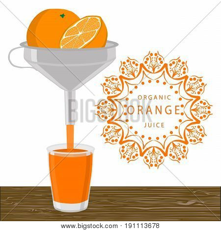 Abstract vector illustration logo whole ripe fruit yellow orange cut sliced,glass background.Orange drawing consisting of tag label peel fruits,pip ripe sweet food.Drink fresh oranges slice in glass.