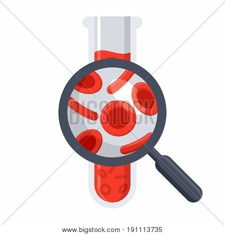 Hematology concept with red blood cell in test tube and magnifying glass, vector illustration in flat style
