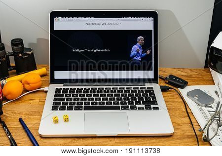 PARIS FRANCE - JUNE 6 2017: Apple Computers website on MacBook laptop in creative environment showcasing Apple Craig Federighi previews macOS High Sierra at WWDC 2017 - security privacy intelligent tracking prevention