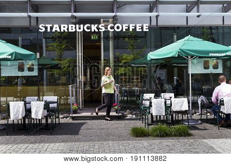 Prague, Czech Republic - May 22: Starbucks Coffee Company Logo On Cafe Building On May 22, 2017 In P