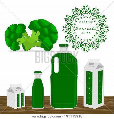 Vector illustration logo for whole ripe vegetables broccoli green stem leaf cut sliced closeup,bottle background.Broccoli drawing pattern consisting of tag label peel ripe food.Drink bottle broccolis.