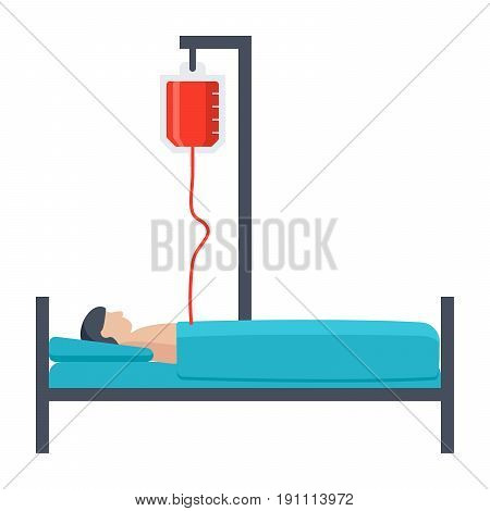 Hospitalization concept with patient lying in a medical bed, vector illustration in flat style