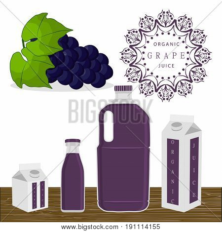 Vector illustration logo for whole ripe fruit blue grape green stem leaf cut sliced.Grape pattern consisting of tag label peel fruits pip ripe sweet food glass background.Drink fresh grapes in glass.