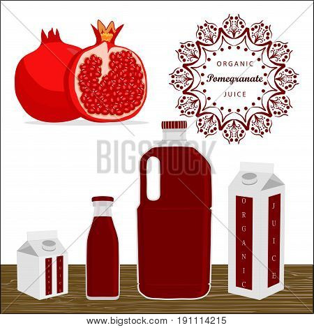 Vector illustration logo whole ripe fruit red pomegranate cut half sliced garnet,background glass.Pomegranate drawing consisting of tag label sweet food.Drink fresh fruits pomegranates in glass garnet