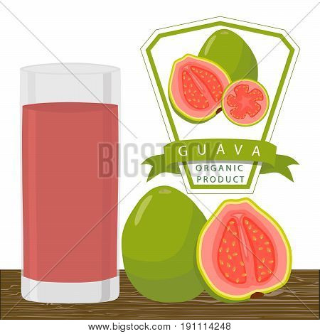 Vector illustration logo for whole ripe fruit red guava cut half sliced  glass background. Guava drawing consisting of tag label natural sweet food glass. Drink fresh raw organic exotic fruits guaves.