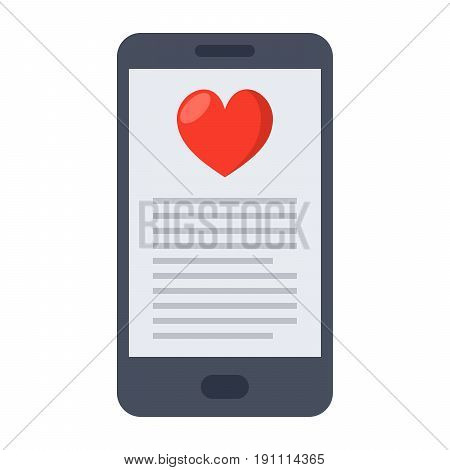 mHealth concept with smartphone and red heart, vector illustration in flat style