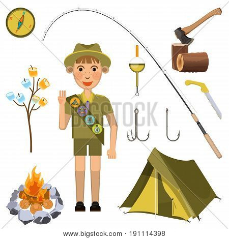 Scout boy demonstrating honor hand sign near camp necessary equipment collection. Vector colorful poster of camping male child in summer