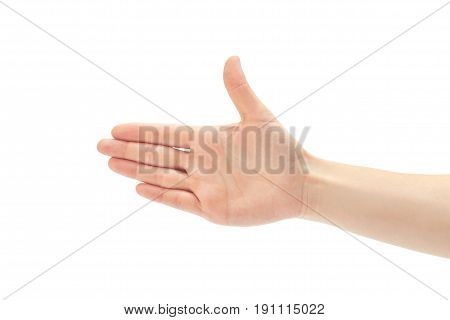 Beautiful Female Hand Greeting Gesture. Isolated On White Background