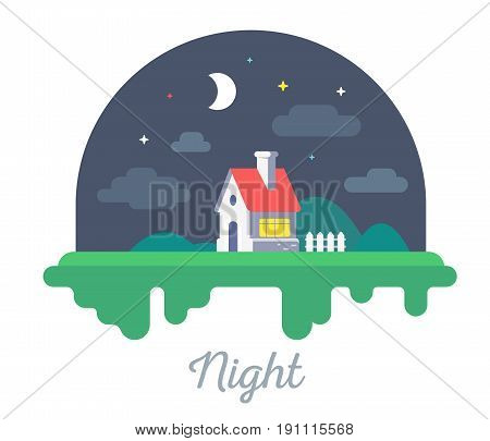 Vector Beautiful Illustration Of  House With Chimney And Fence On Green Grass. Night Countryside Con