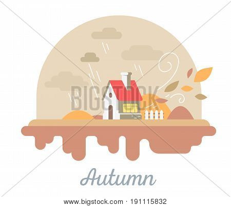 Vector Seasonal Illustration Of Beautiful House With Chimney And Fence. Autumn Season Concept With F