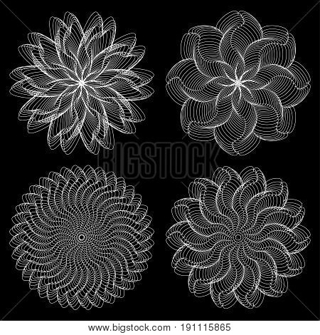 Set of vector vortex elements. Spirograph guilloche sign