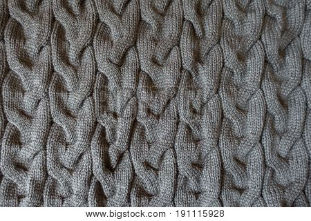 Grey Knit Fabric With Plait Pattern From Above