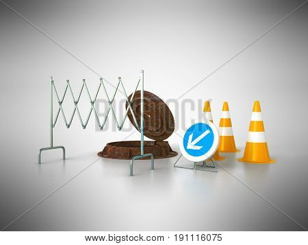 Concept Of Sewerage 3D Render On Gray Background Sewer Hatch Orange Cone Fence