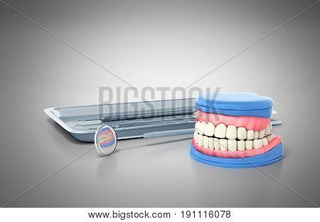 Dental Concept Dental Tools And Denture On A Grey Background 3D Render