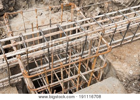 Reinforcement steel bars of beam for building.
