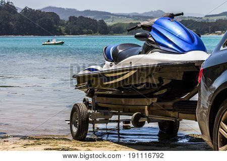 A jet ski about to be unloaded to sail