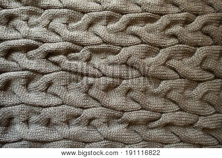 Horizontal Plaits On Warm Grey Knit Fabric