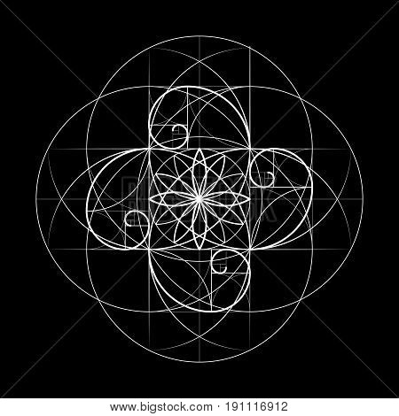 Sacred Geometry. Golden Section. Vector 10 Eps
