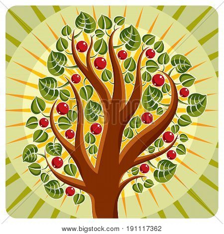 Tree With Ripe Apples Placed On Stylized Background, Harvest Season Theme Illustration. Fruitfulness