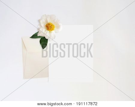 Styled stock photo. Feminine digital product mockup with peony flower, blank list of paper, envelope and white background. Flat lay, top view, picture for blog or social media.