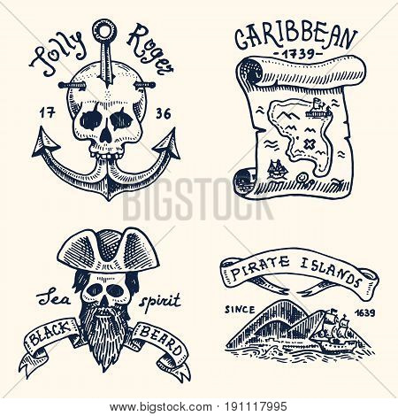 set of engraved, hand drawn, old, labels or badges for corsairs, skull at anchor, map to treasure, black beard, Caribbean island. Jolly roger. Pirates marine and nautical or sea, ocean emblem