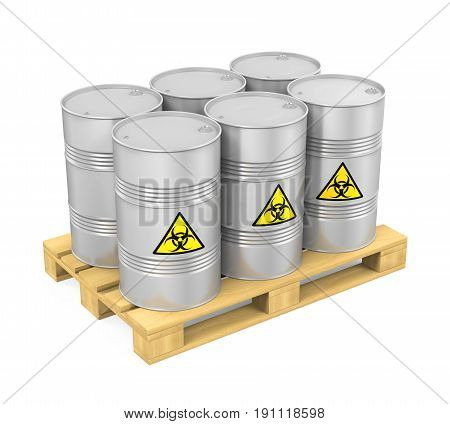 Pallet of Biohazard Barrels isolated on white background. 3D render